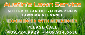 Austin's Lawn Service. Gutter Clean Out. Lawn Maintenance. Flower Beds. Experienced with references. Please Call 409-724-9929 or 409-934-6636.