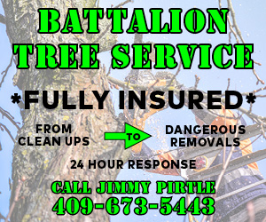 Battalion Tree Service. Full insured. From clean ups to dangerous removals. 24 hour response. Call Jimmy Pirtle 409-679-5448