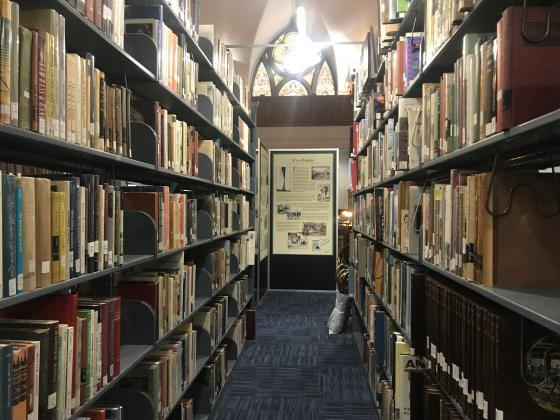 Inside view of Tyrrell Historic Library.
