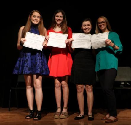 The 2020 winners of the school-level competition (Left to Right): Emily Simmons: 2nd place, Declamation; Maryn Chilton: 1st place, Declamation; Savannah Young: 1st place, Interpretive Reading; Ella Bunting: 2nd place, Interpretive Reading.